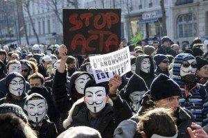 Manifestation Anonymous contre ACTA
